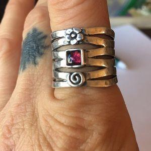 Rad Silpada Sterling Silver Garnet Ring